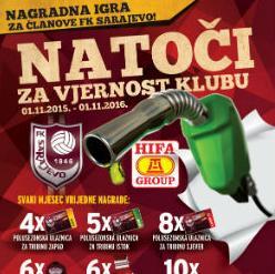 """Nagrada, pod nazivom """"Natoči za vjernost Klubu"""" traje od 1. novembra tekuće godine, do 1. novembra 2016. godine, a sprovodi se na području Kantona Sarajevo."""