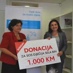 """""""Konzum"""" d.o.o. Sarajevo uručio je jučer S.O.S Dječijem selu donaciju od 1.000 KM u okviru projekta """"Mjesec sreće u Konzumu"""", saopćeno je iz te kompanije."""