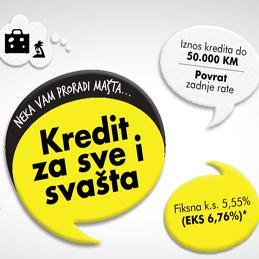 U okviru navedene ponude dostupni su novčani krediti u maksimalnom iznosu do 50.000 KM, te uz kamatnu stopu od 5,55% (EKS 6,76%).