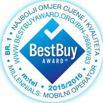 Kompanija m:tel dobitnik je prestižne nagrade Best Buy Award u Millennials BIH 2015/2016 istraživanju, za najbolji odnos kvaliteta usluga mobilne telefonije i cijene na području BiH, a koju uručuje švajcarska kuća ICERTIAS.