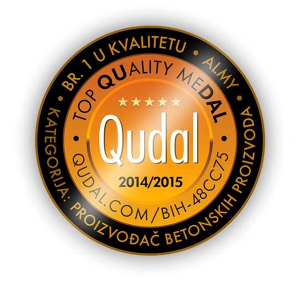 Kompanija Almy Zenica dobitnik je Qudal - Quality medalje za proizvodnju betonskih proizvoda i betonske galanterije.