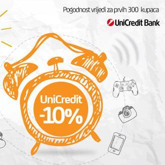 Popust vrijedi samo za prvih 300 kupaca, koji plaćaju karticom UniCredit Bank