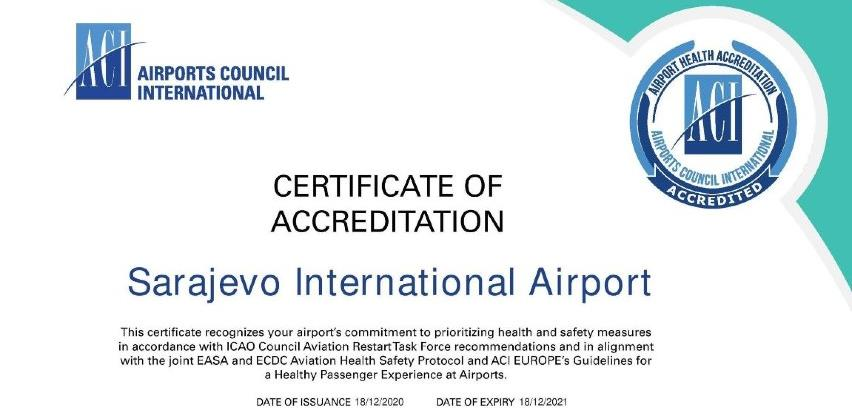 Međunarodni aerodrom Sarajevo dobio certifikat o zdravstvenoj akreditaciji
