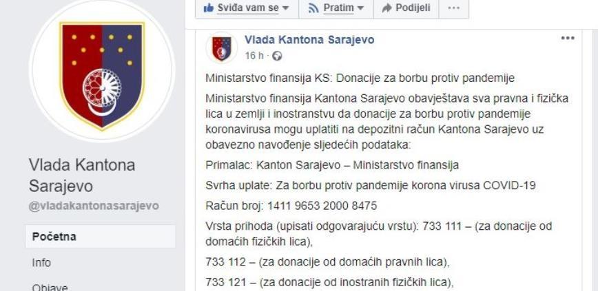 Vlada KS traži donaciju od pravnih i fizička lica za borbu protiv koronavirusa