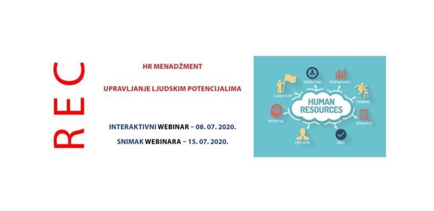 Webinar: HR menadžment, upravljanje ljudskim potencijalima