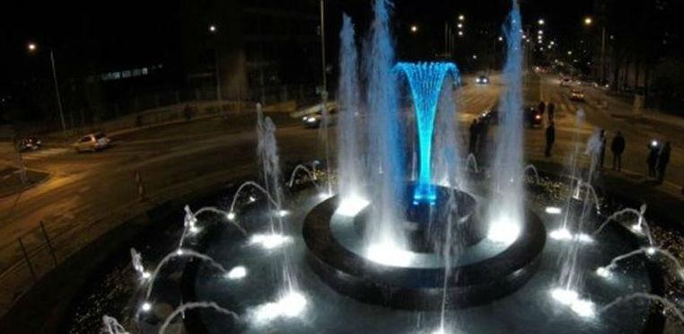 Fontana na GGM-u u Zenici u plavom svjetlu