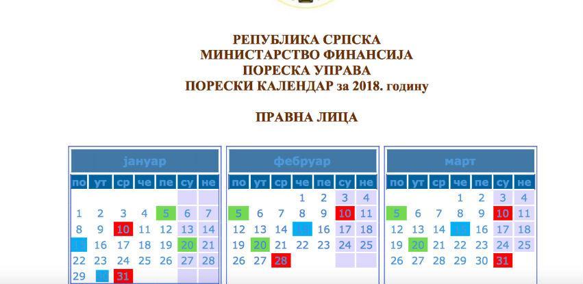 Poreski kalendar na uvidu poreskim obveznicima