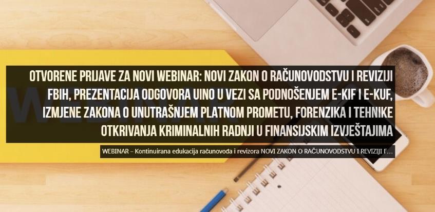 FEB organizuje webinar 'Novi zakoni i druge aktuelnosti'