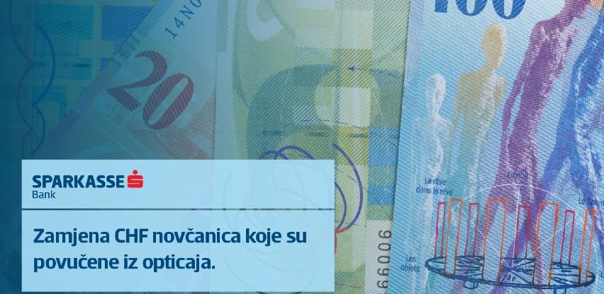U Sparkasse Banci možete zamijeniti nevažeće novčanice švicarskog franka