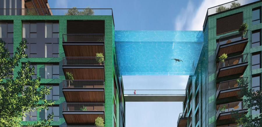 Nova vodena atrakcija, bazen između zgrada na 35 metara iznad tla