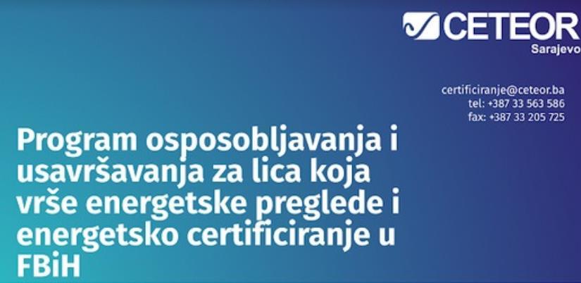 CETEOR organizuje program obuke energijskih auditora i certifikatora