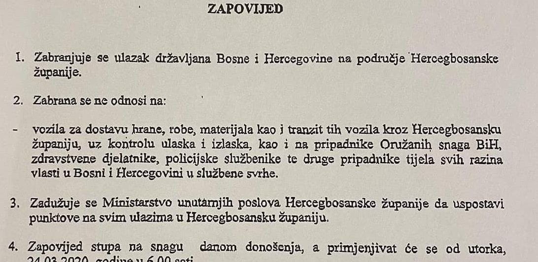Zabranjuje se ulazak građanima BiH u HBŽ od 24.03.2020.
