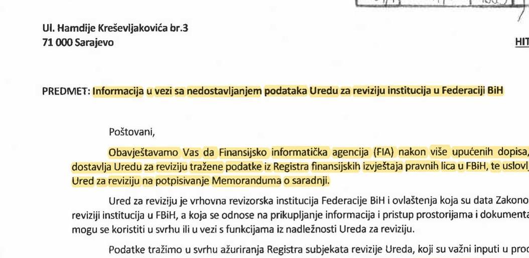 FIA odbila ustupiti tražene podatke Uredu za reviziju institucija