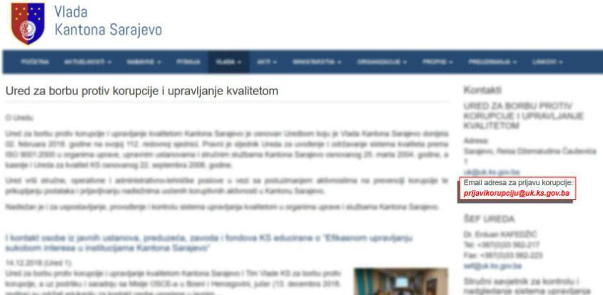 Otvorena direktna e-mail adresa za prijavu korupcije u Kantonu Sarajevo