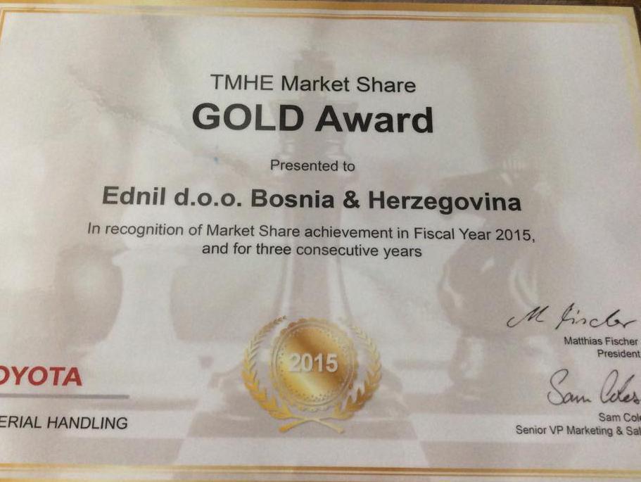 Toyota nagrade: Sarajevski Ednil dobio zlatno priznanje u Amsterdamu