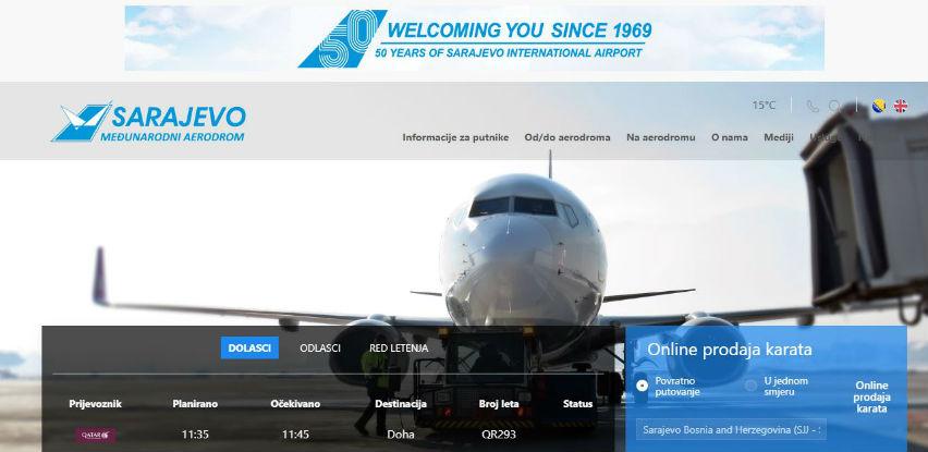 Međunarodni aerodrom Sarajevo unaprijedio izgled svoje web stranice