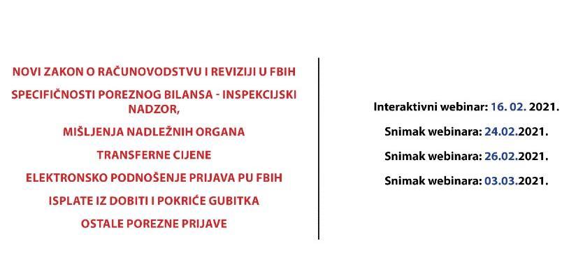 Webinar za računovođe o novom zakonu o računovodstvu i reviziji u FBiH
