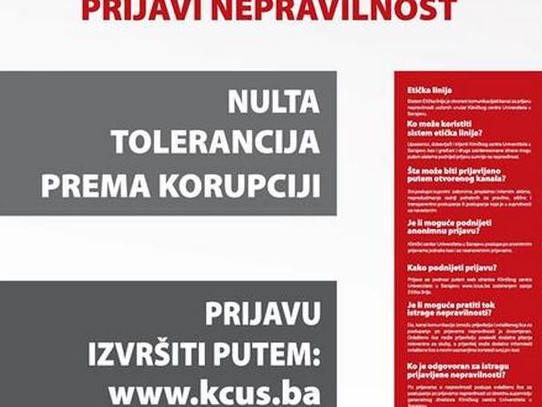 KCUS instalirao antikorupcijski program za prijavu nepravilnosti u radu