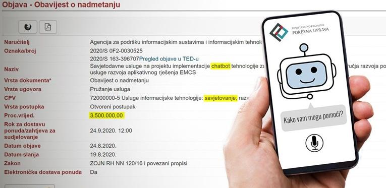 Porezna Hrvatske virtualnog asistenta plaća 3,5 milijuna kuna