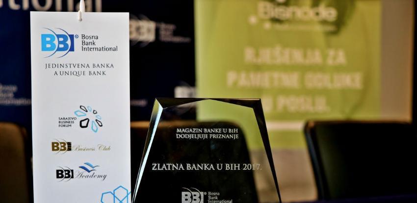 """BBI banka izabrana za """"Zlatnu banku BiH 2017"""""""
