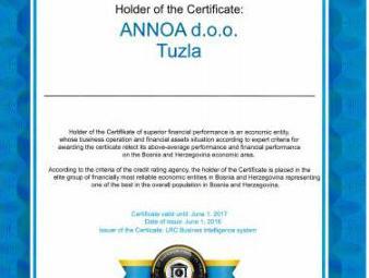 Annoa d.o.o. iz Tuzle dobila Certifikat bonitetne pouzdanosti