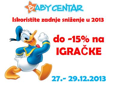 Iskoristite zadnje sniženje u ovoj godini u Baby Centru, do -15% na igračke