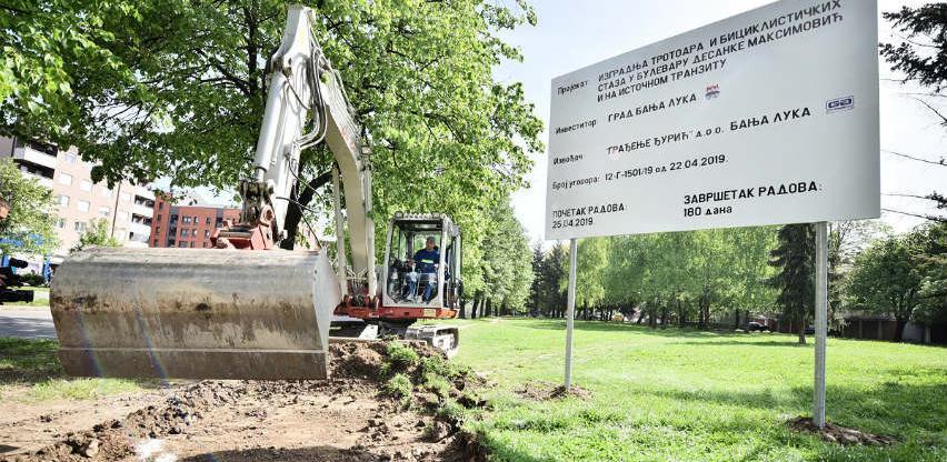 Banja Luka: Počela gradnja trotoara i biciklističkih staza duž Istočnog tranzita