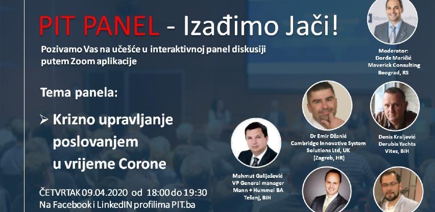 """Tema nove PIT panel diskusije: """"Krizno upravljanje poslovanjem u vrijeme Corone"""""""