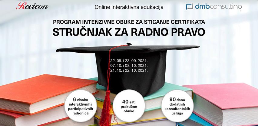 Program intenzivne obuke za sticanje certifikata 'Stručnjak za radno pravo'