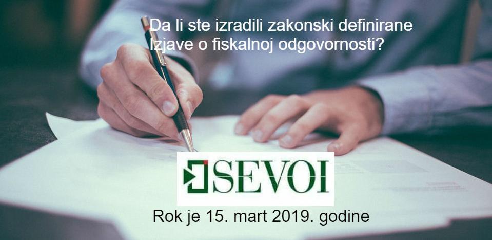 SEVOI grupa: Izjava o fiskalnoj odgovornosti je vaša obaveza