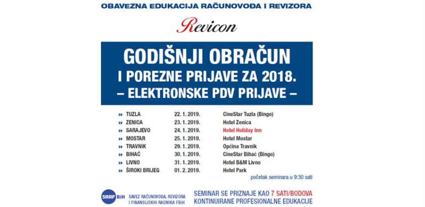 Revicon: Godišnji obračun i porezne prijave za 2018.