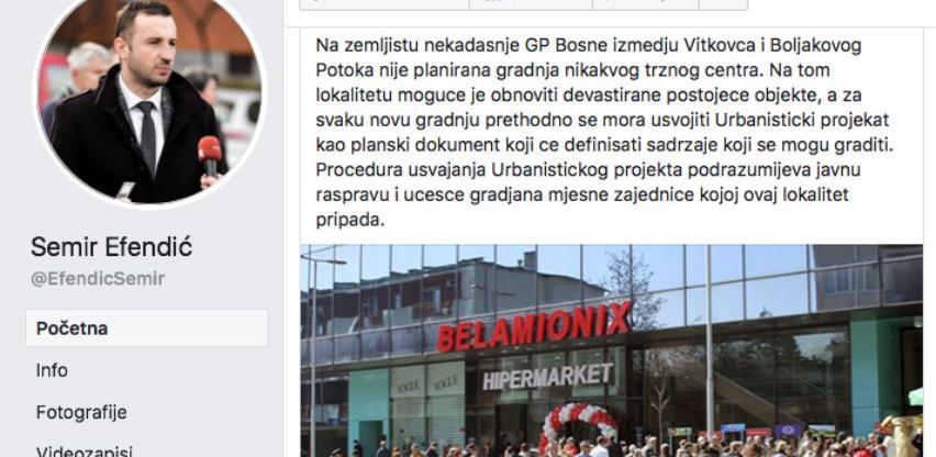 Efendić se oglasio povodom najave gradnje tržnog centra