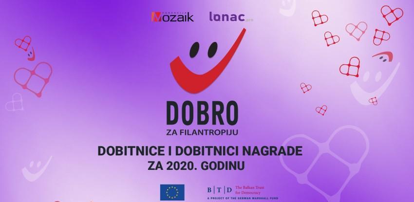 Dodijeljene nagrade DOBRO za filantropiju u 2020. godini