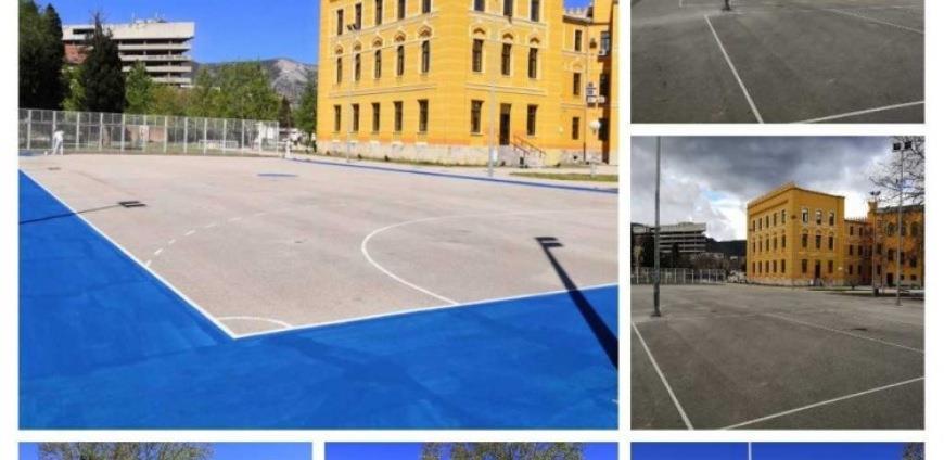 Uređena zgrada stare mostarske gimnazije i njezin okoliš
