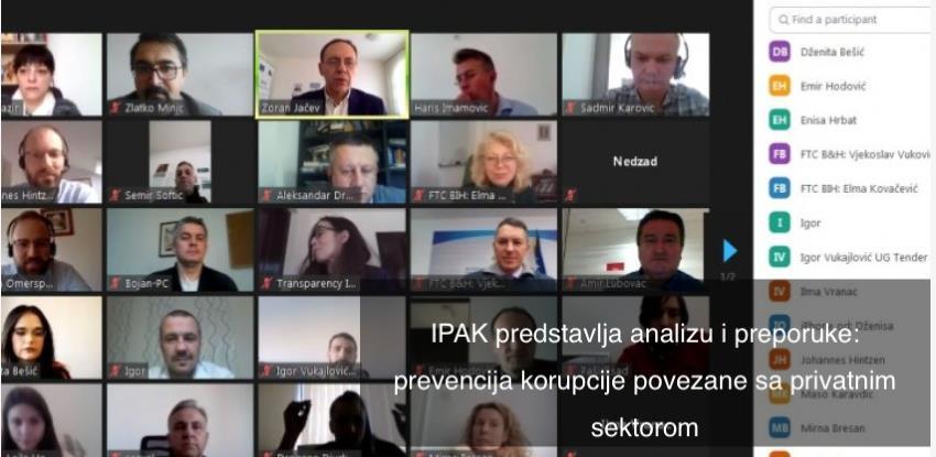 Predstavljeni rezultati istraživanja o korupciji u privatnom sektoru u BiH