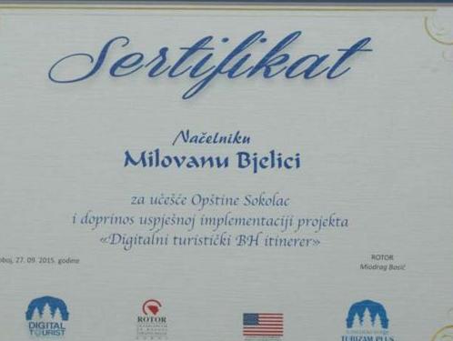 Opštini Sokolac certifikat za projekt Digitalni turistički BH itinerer