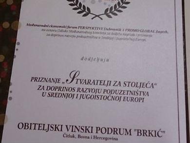 """Vinskom podrumu """"Brkić"""" nagrada za doprinos razvoju poduzetništva"""