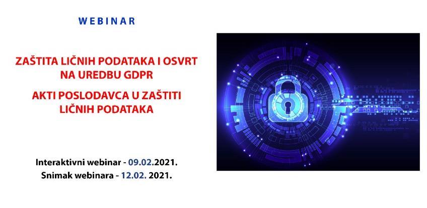 REC webinar: Zaštita ličnih podataka i osvrt na uredbu GDPR