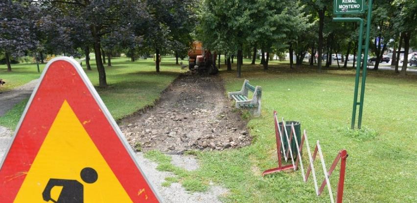 Počeli radovi na sanaciji pješačkih staza u Parku Kemala Montena