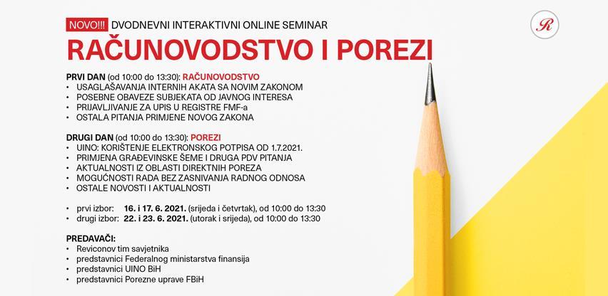 Dvodnevni online seminar: Računovodstvo i porezi