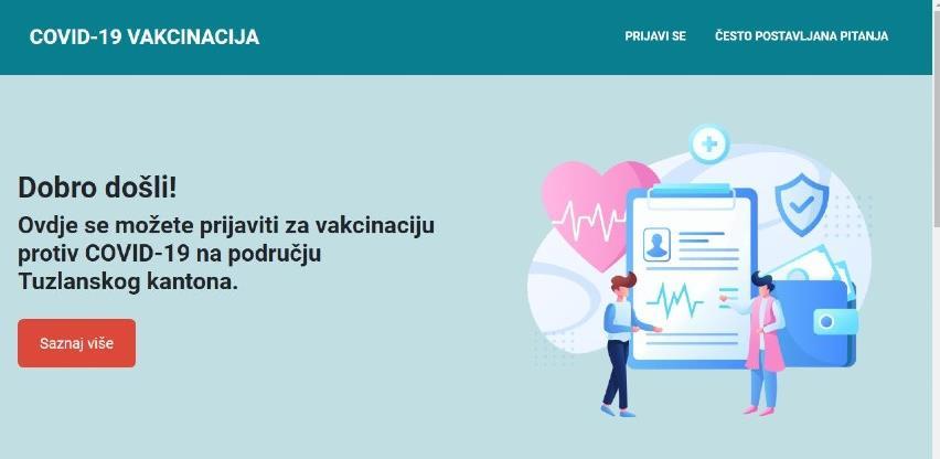 Aktivirana online platforma za prijavu za vakcinaciju u Tuzlanskom kantonu