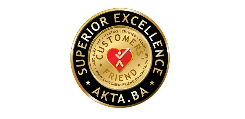 """Akta.ba nosilac certifikata """"Customers' Friend – Vrhunska izvrsnost"""""""
