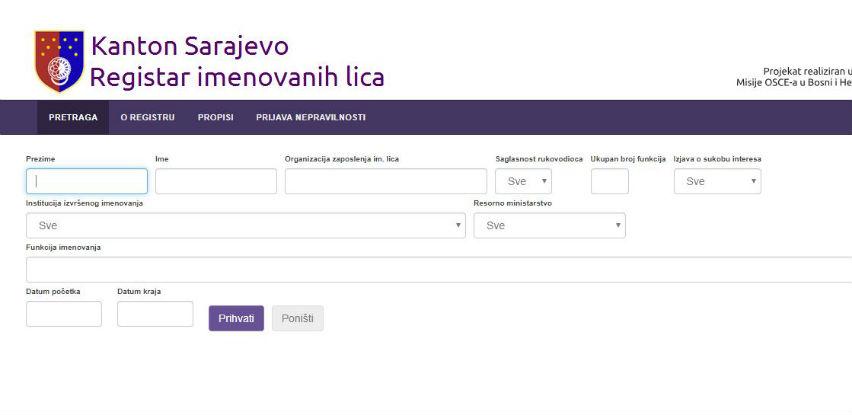 Vlada KS donijela novu Odluku o Registru imenovanih lica u Kantonu Sarajevo