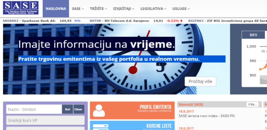 Sarajevska berza lansira novi indeks - SASX-FN