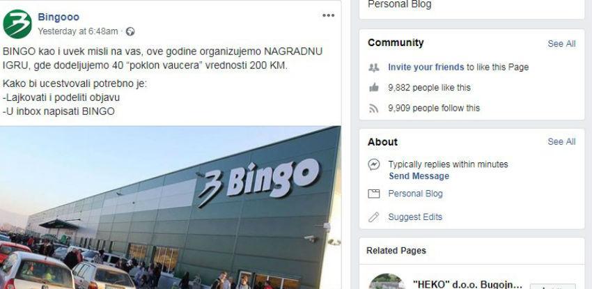 Upozorenje kupcima, lažna nagradna igra kompanije Bingo