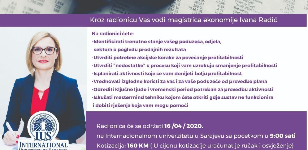 IUS Life Centar vas poziva na radionicu sa Ivanom Radić