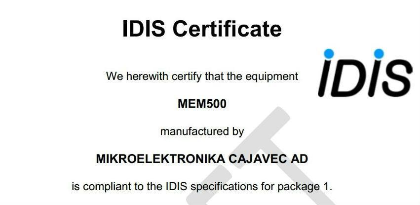 Novi IDIS sertifikat za tip monofaznog brojila MEM 500