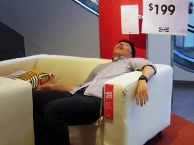 Why Chinese sleep in Ikea stores?