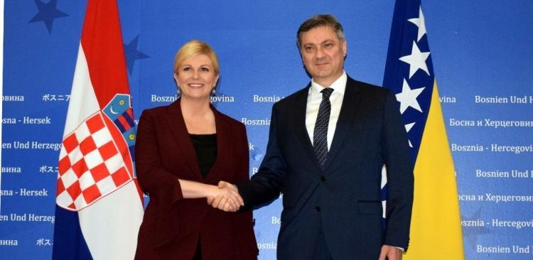 Zvizdić sa predsjednicom Hrvatske o unapređenju saradnje dviju zemalja