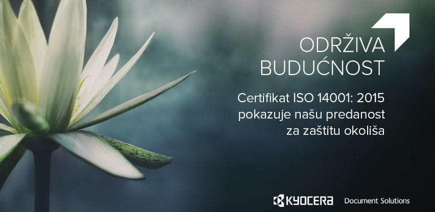 KYOCERA dokazuje predanost zaštiti okoliša kroz ISO 14001:2015 certifikaciju